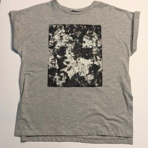 Zara rolled sleeve t-shirt with front design